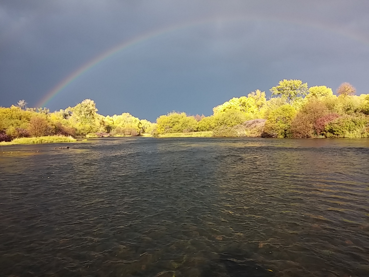 Photo of rainbow over Henry's Fork.